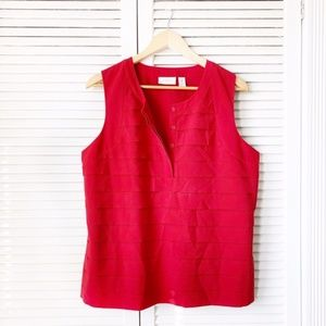 Chico's Red Tiered Sleeveless Blouse Tank Top